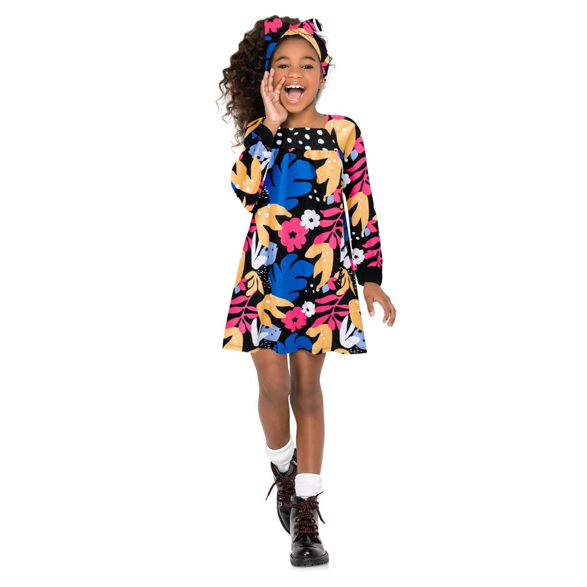 Vestido Infantil Nanai em Algodão Estampado Preto