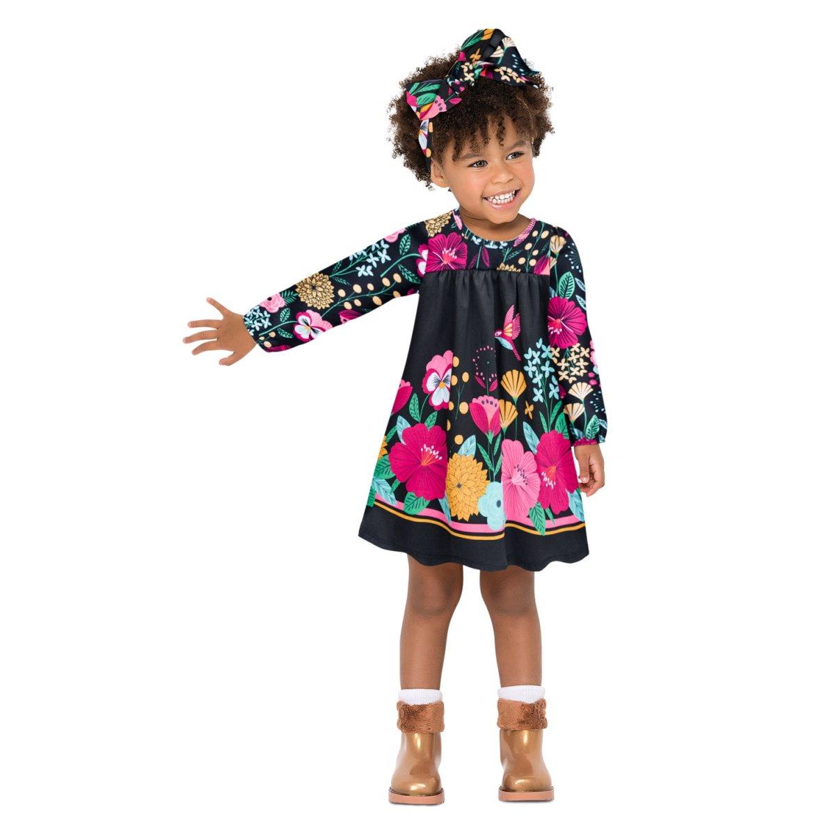 Vestido Infantil Nanai em Algodão na cor Preto