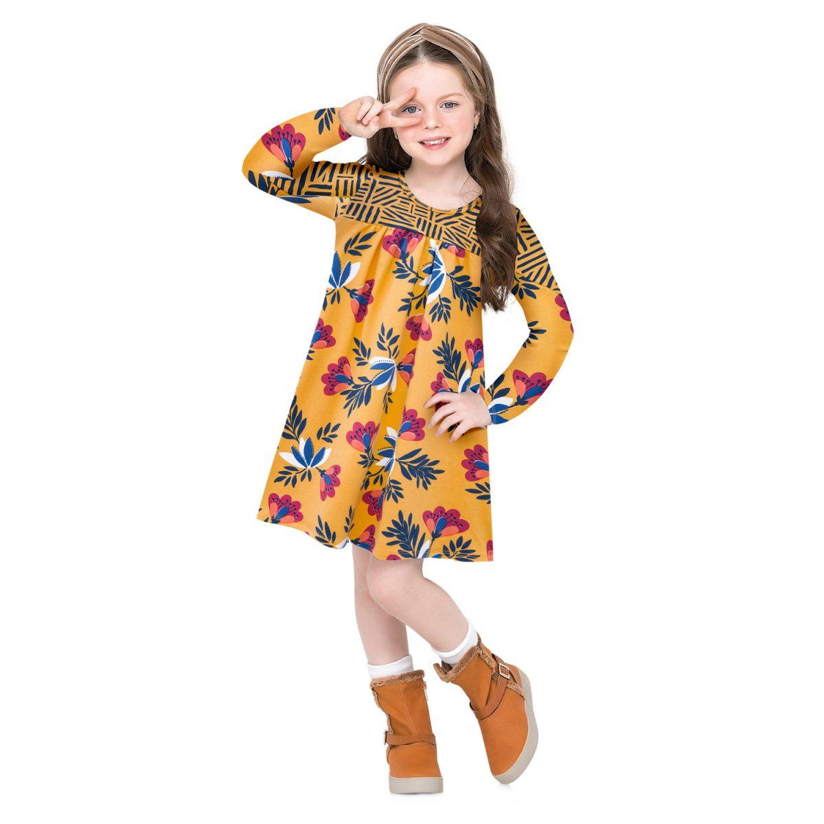 Vestido Infantil Nanai em Cotton Estampado na cor Amarelo-600626-2735