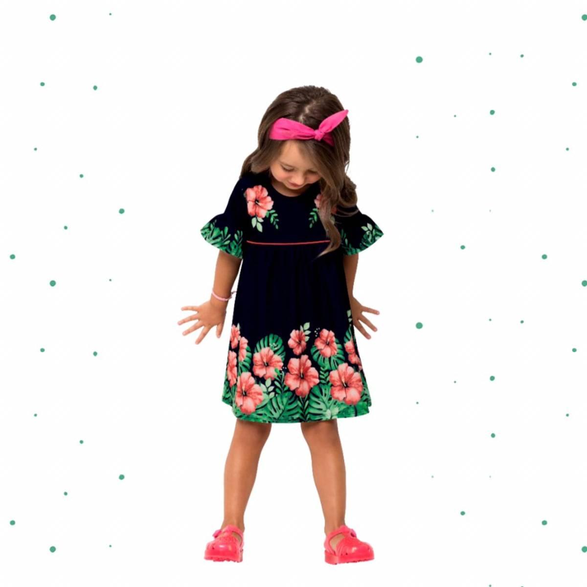 Vestido Infantil Nanai em Malha Sublime