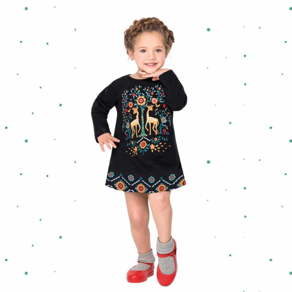 Vestido Infantil Nanai em Moletinho Leve