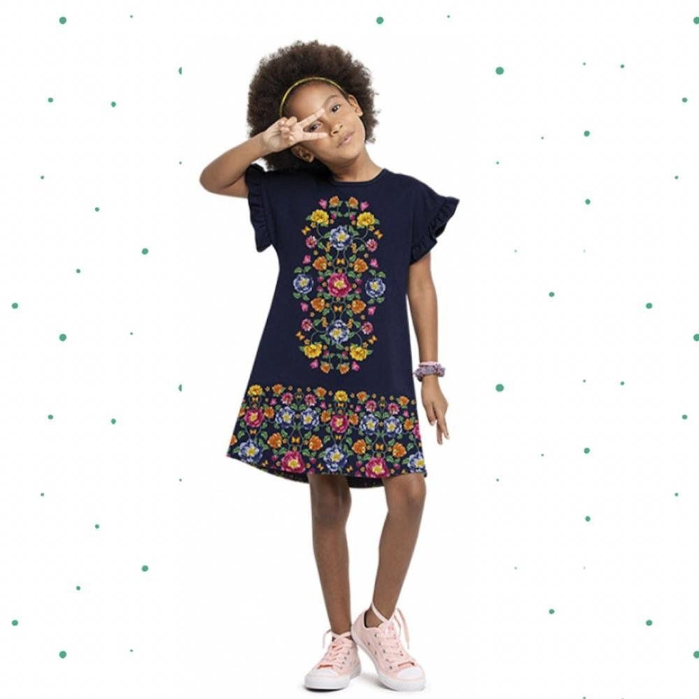 Vestido Infantil Nanai em Moletinho Leve Estampado