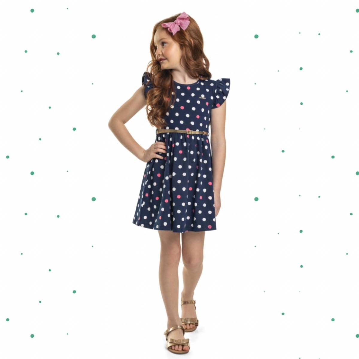Vestido Infantil Quimby em Cotton Acompanha Cinto