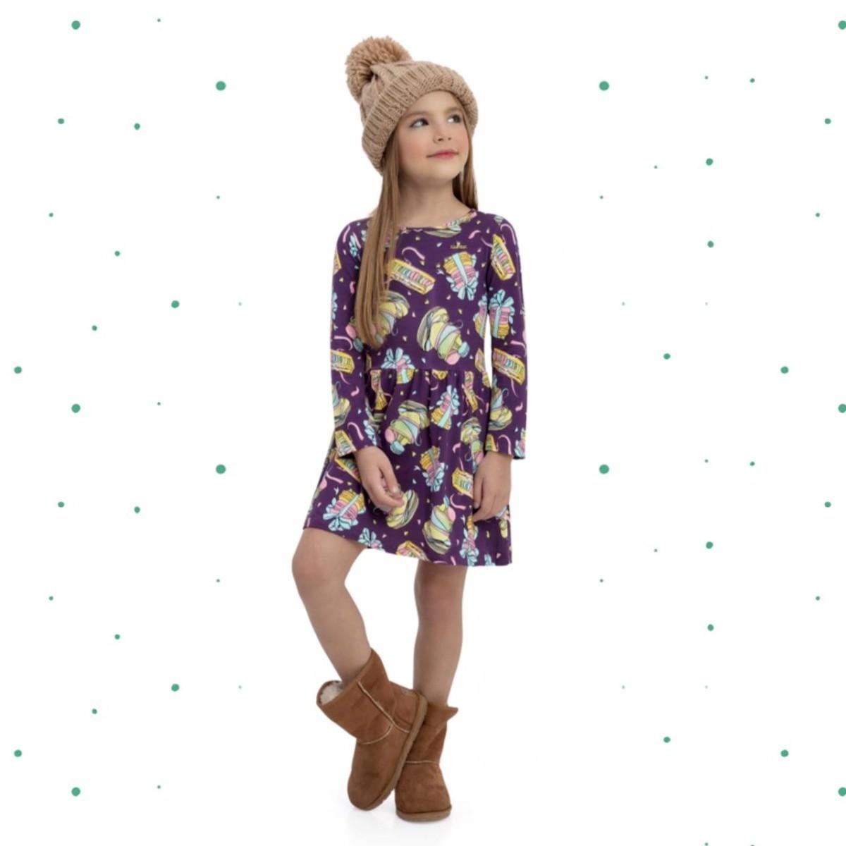 Vestido Infantil Quimby em Cotton Cor Roxo
