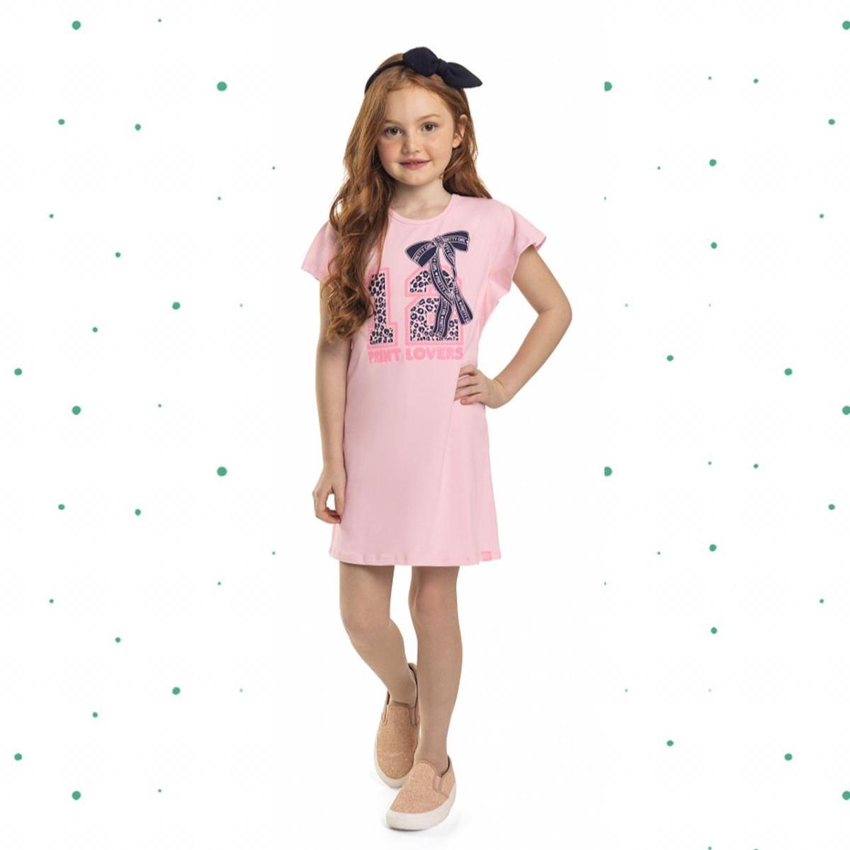 Vestido Infantil Quimby em Cotton Estampa com Glitter e Strass