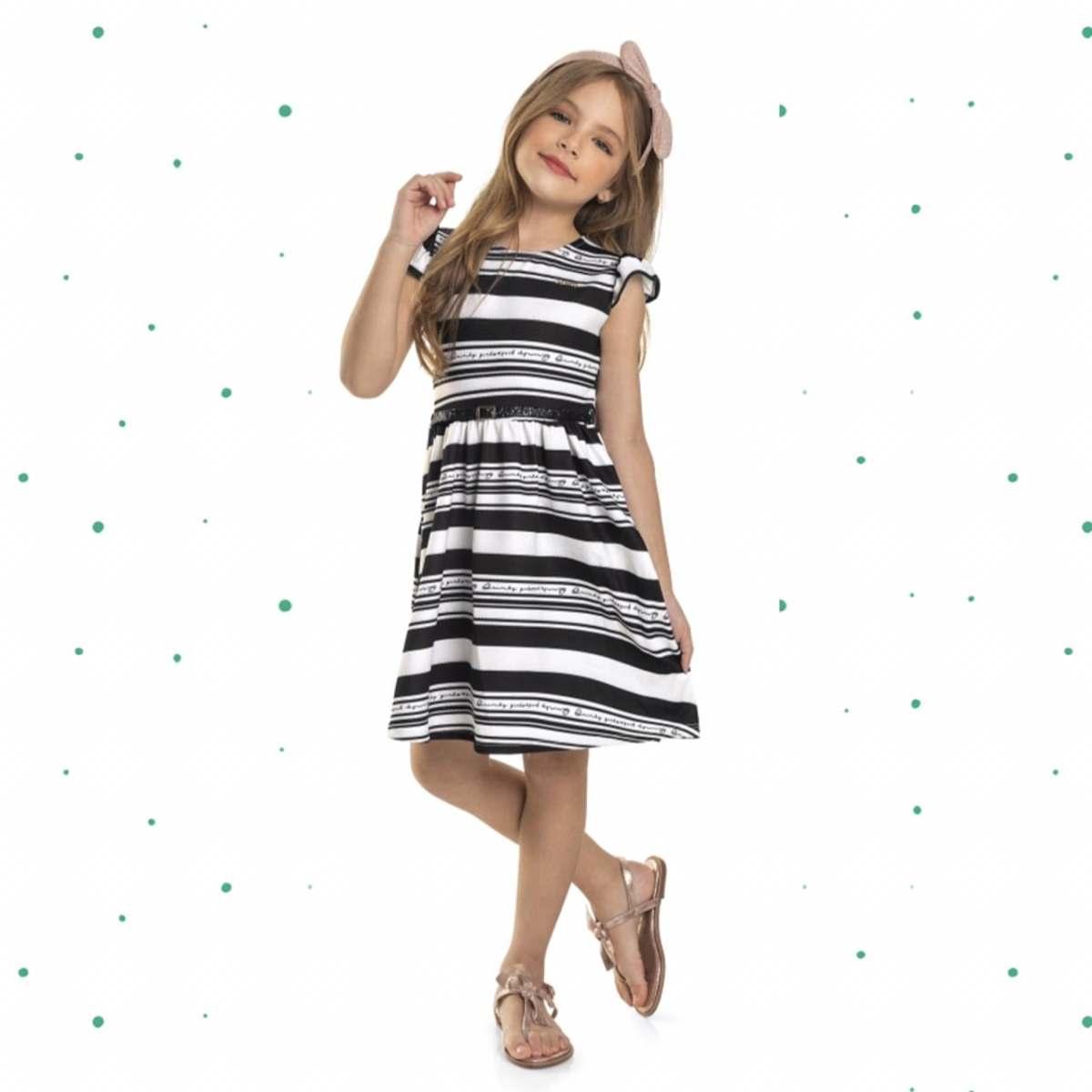 Vestido Infantil Quimby em Malha Favinho Sublimada Acompanha Cinto