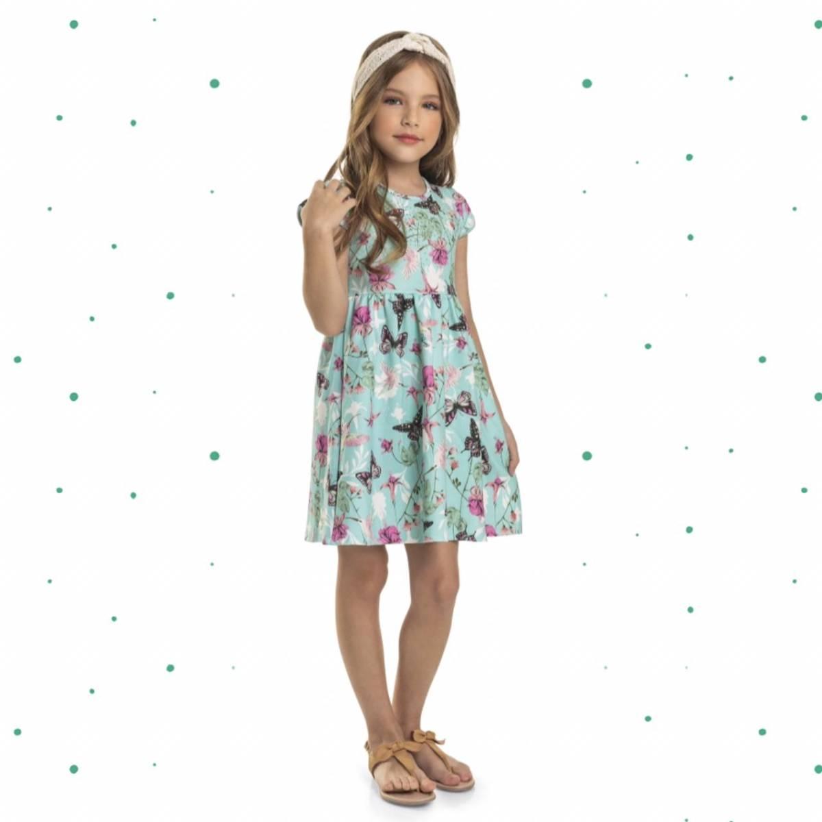 Vestido Infantil Quimby em Malha Jacquard Sublimada Estampado
