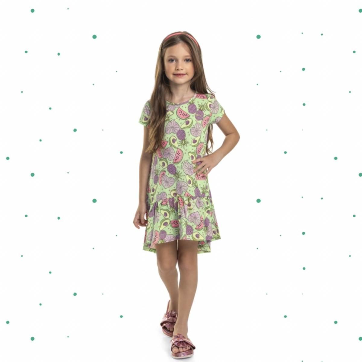 Vestido Infantil Quimby em Meia Malha Estampado