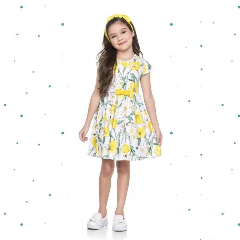 Vestido Infantil Quimby Manga Curta em Cotton Floral na cor Amarelo
