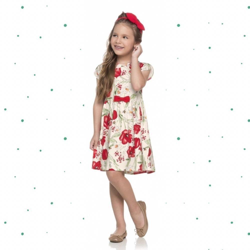 Vestido Infantil Quimby Manga Curta em Cotton Floral na cor Vermelho
