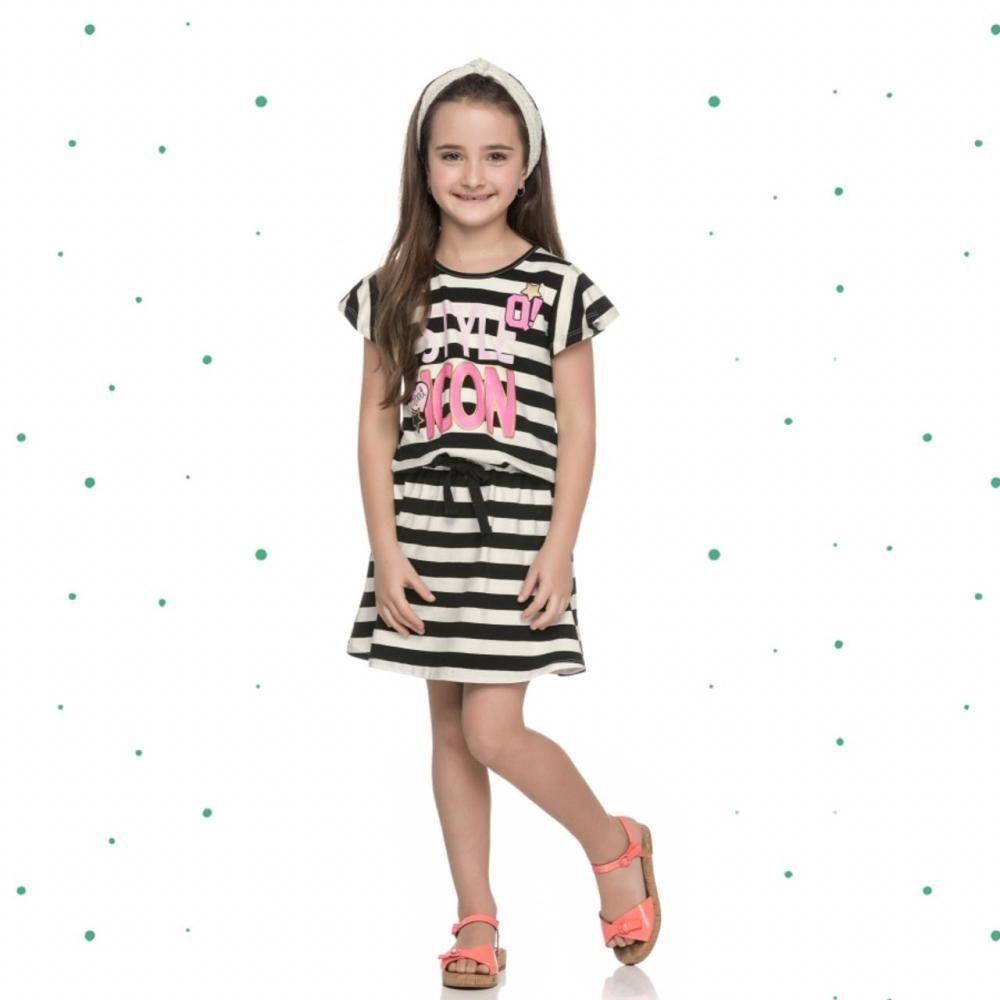 Vestido Infantil Quimby Manga Curta em Cotton Listrado Preto