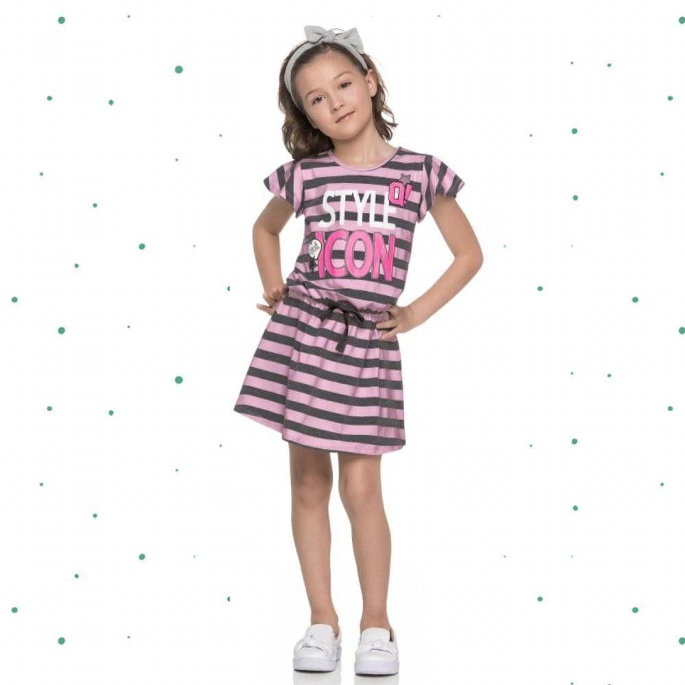 Vestido Infantil Quimby Manga Curta em Cotton Listrado Rosa