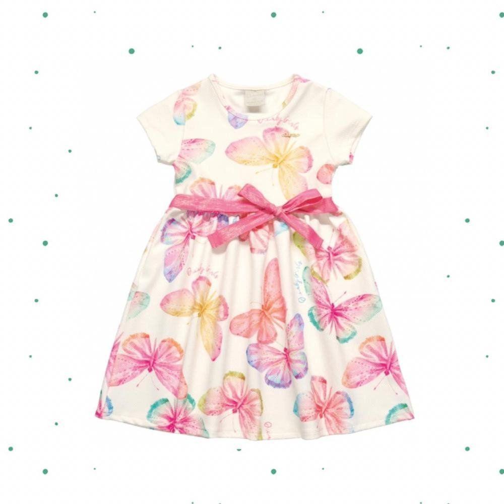 Vestido Infantil Quimby Manga Curta em Malha Jacquard com Estampa de Borboletas e Aplique de Laço