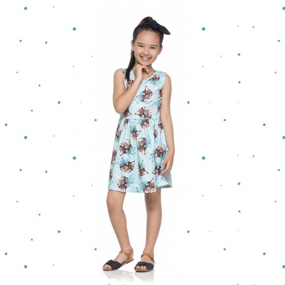 Vestido Infantil Quimby sem Manga em Cotton com Estampa de Gatos na cor Azul