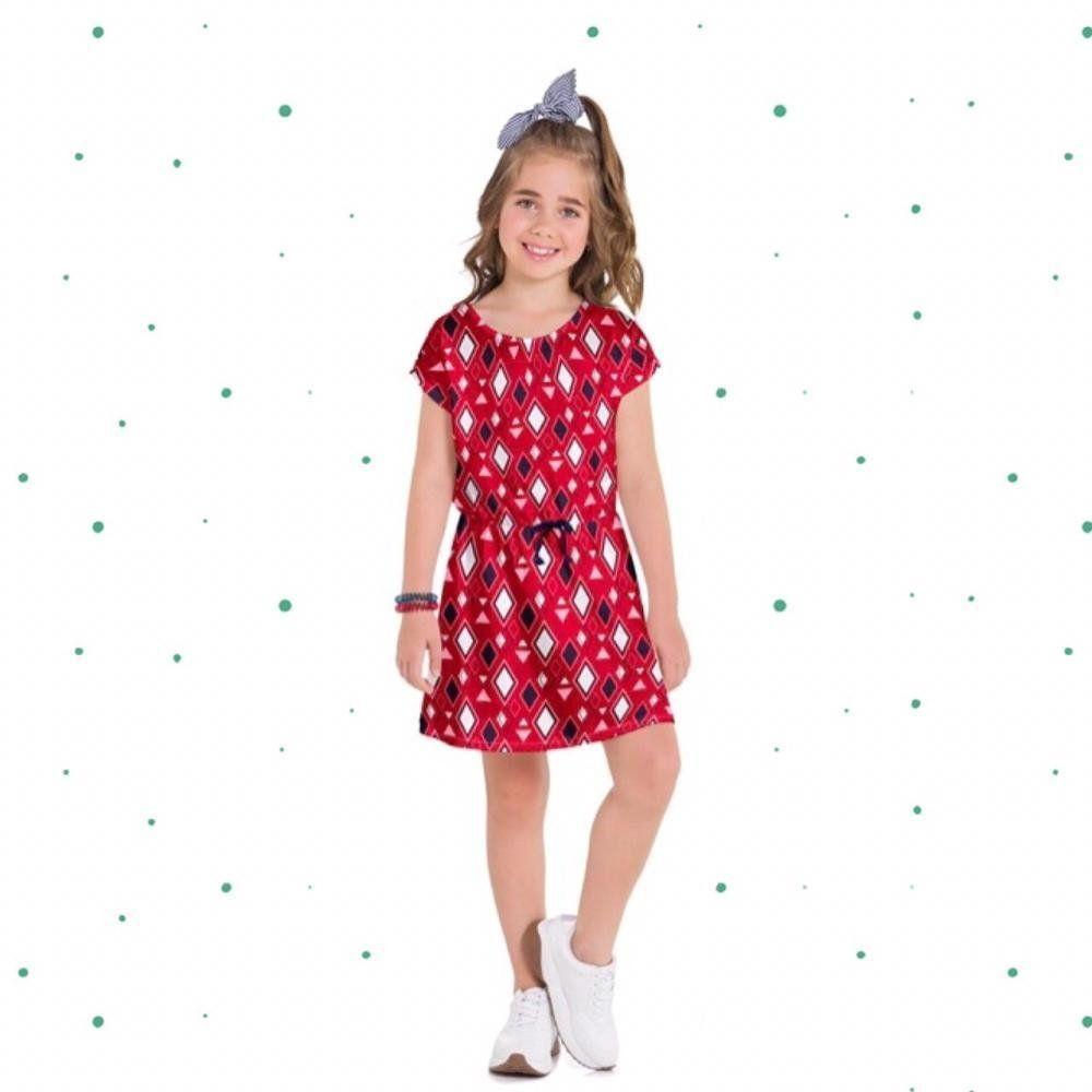 Vestido Infanto Juvenil Kyly em Meia Malha Estampado na cor Vermelho