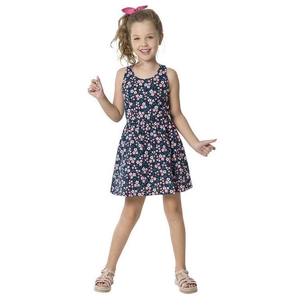 Vestido Kyly em Meia Malha Estampado na Cor Azul Marinho