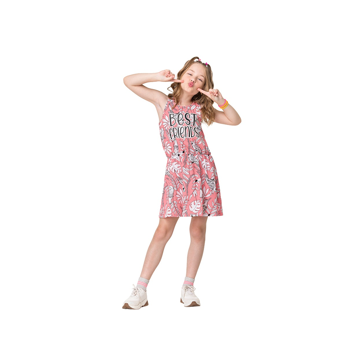 Vestido Kyly Regata em Algodão- Pink Neon