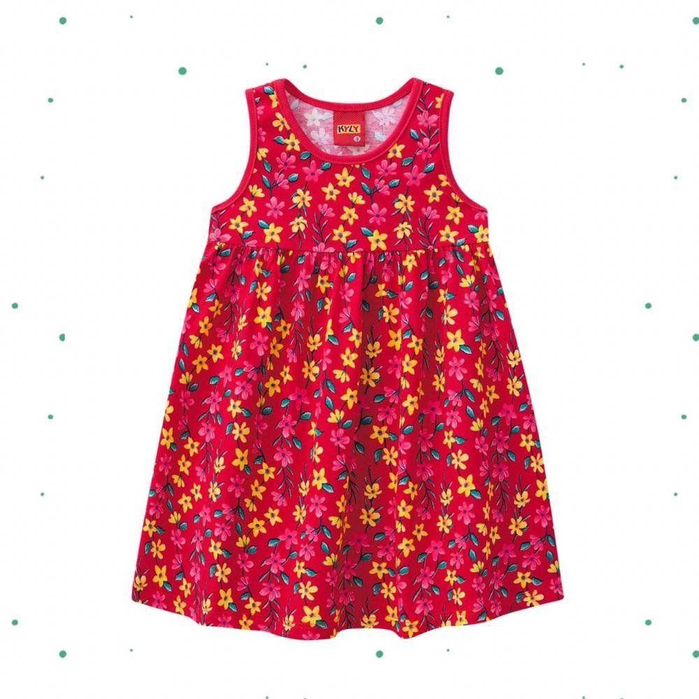 Vestido Menina Kyly em 100% Algodão com Estampa de Flores