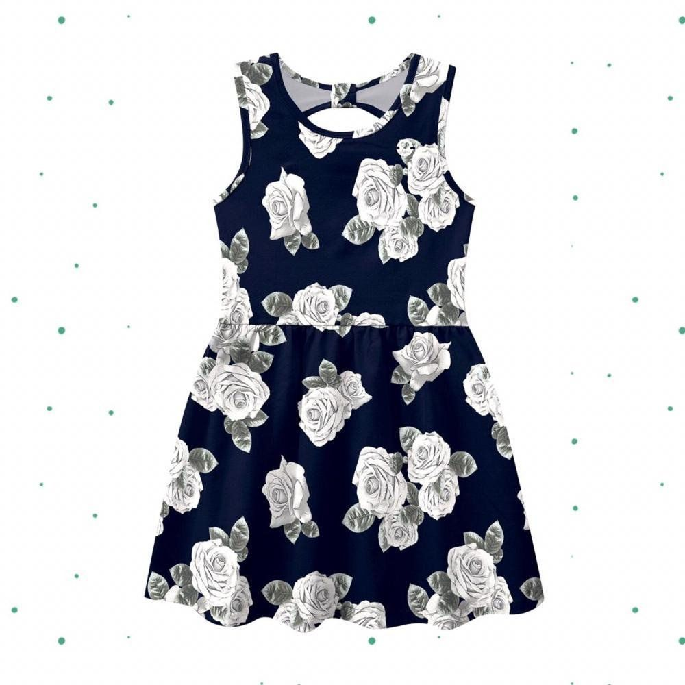 Vestido Milon Curto em Cotton Florido na cor Azul Marinho