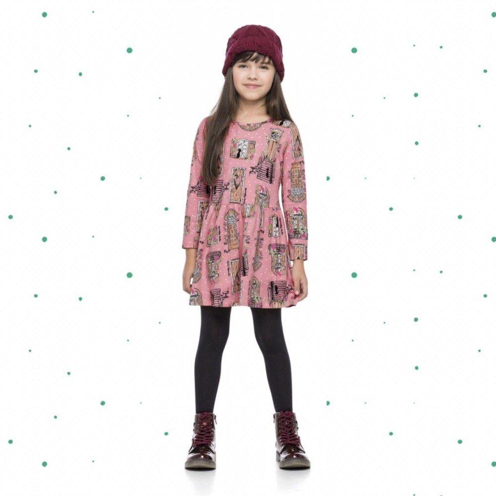 Vestido Quimby Manga Longa em Cotton na Cor Rose