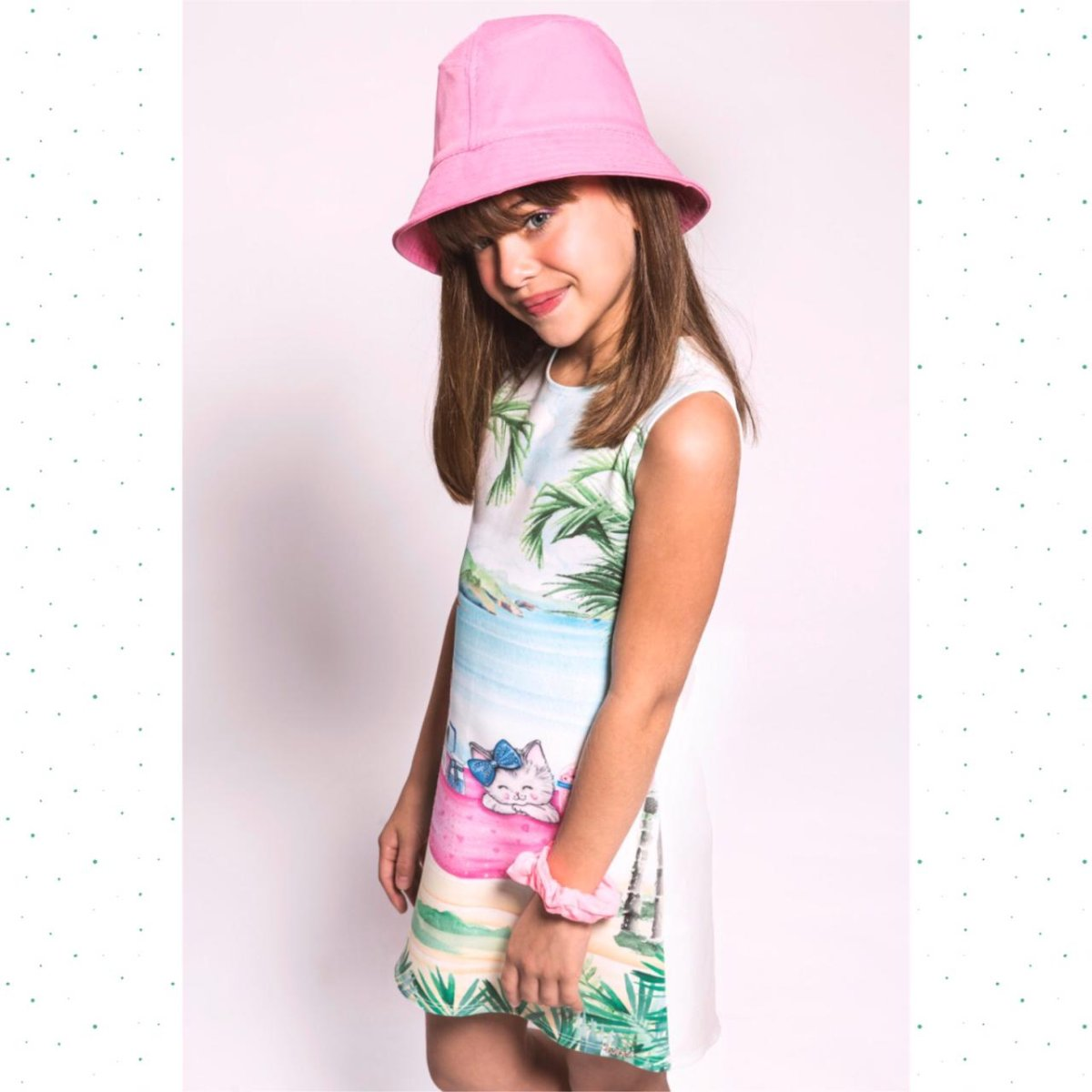 Vestido Regata Infantil Kukiê Fly Tech Estampa Gatinhos
