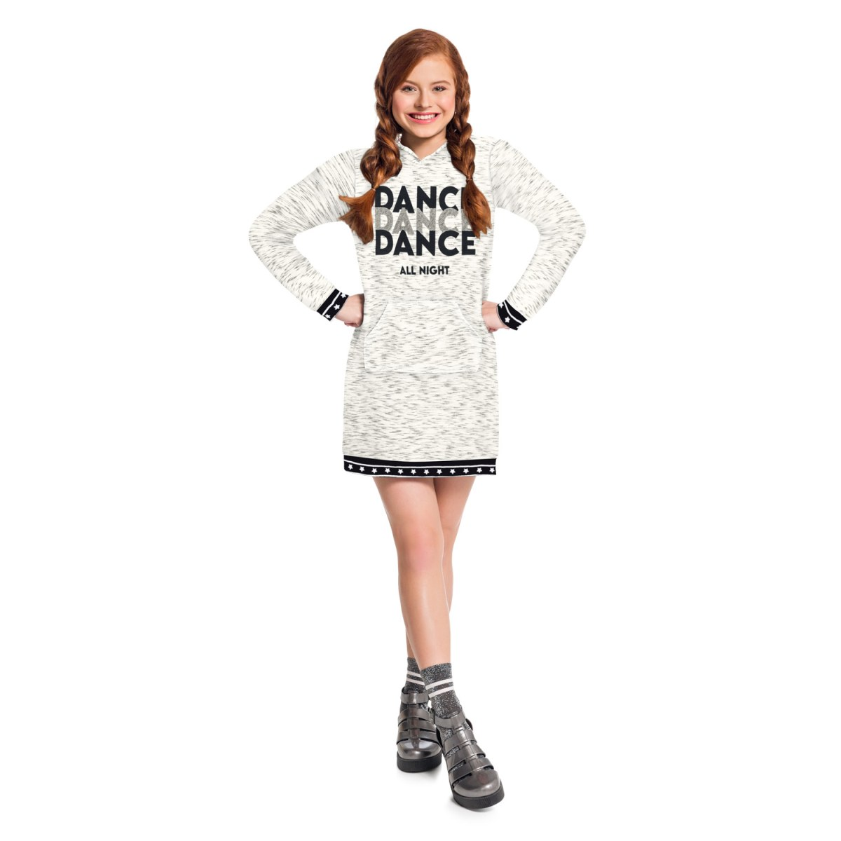 Vestido Teen Amora em Moletom 3 Cabos cor Off White