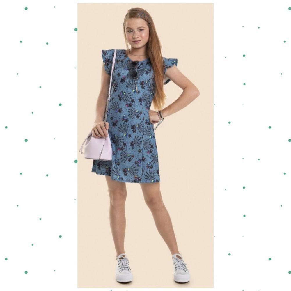 Vestido Teen Gloss em Malha Jacquard  Sublimada