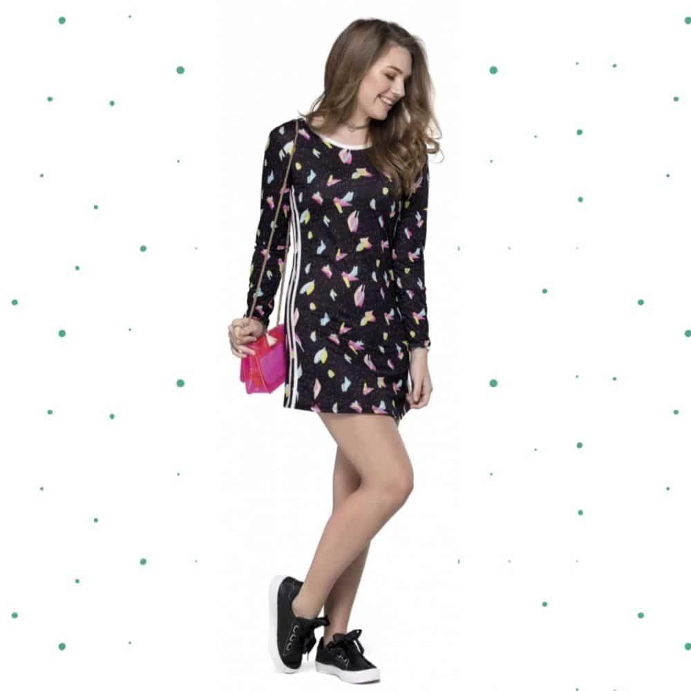 Vestido Teen Gloss Manga Longa em Cotton com Estampa Sublimada