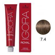 Coloração Igora Royal 60g. 7.4 Louro Médio Bege