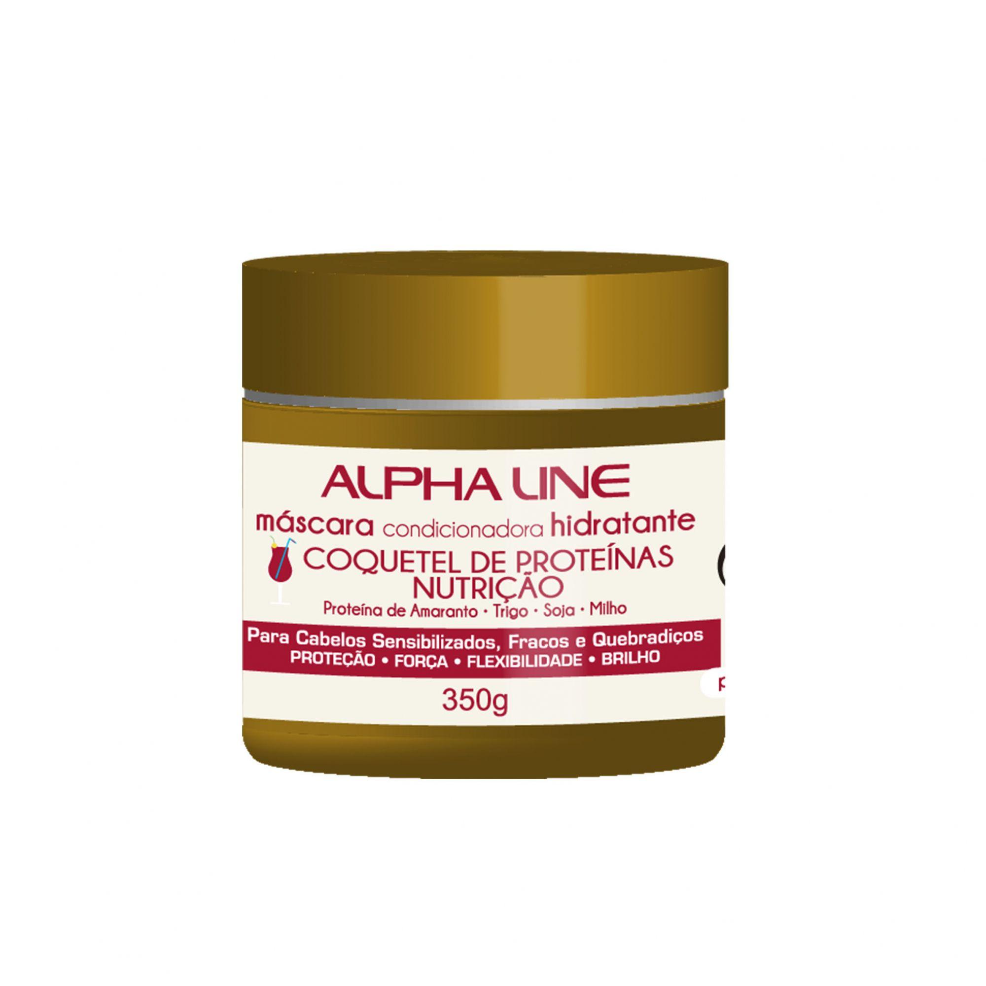 Alpha Line Máscara Coquetel de Proteínas Nutrição 350g.
