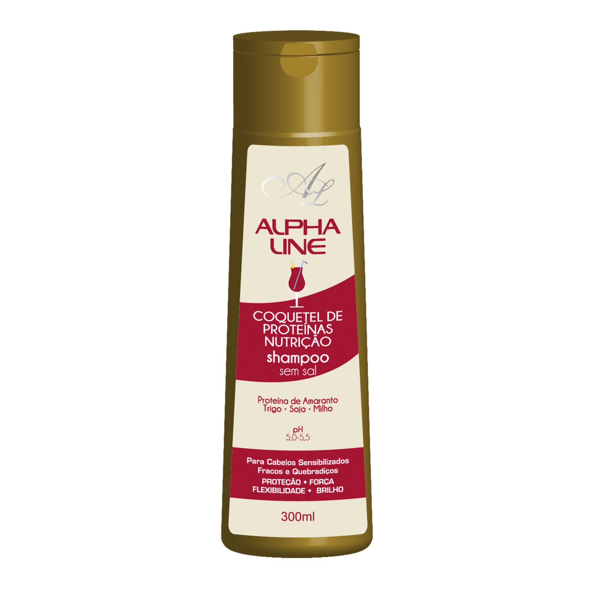 Shampoo Coquetel de Proteínas Nutrição 300g Alpha Line