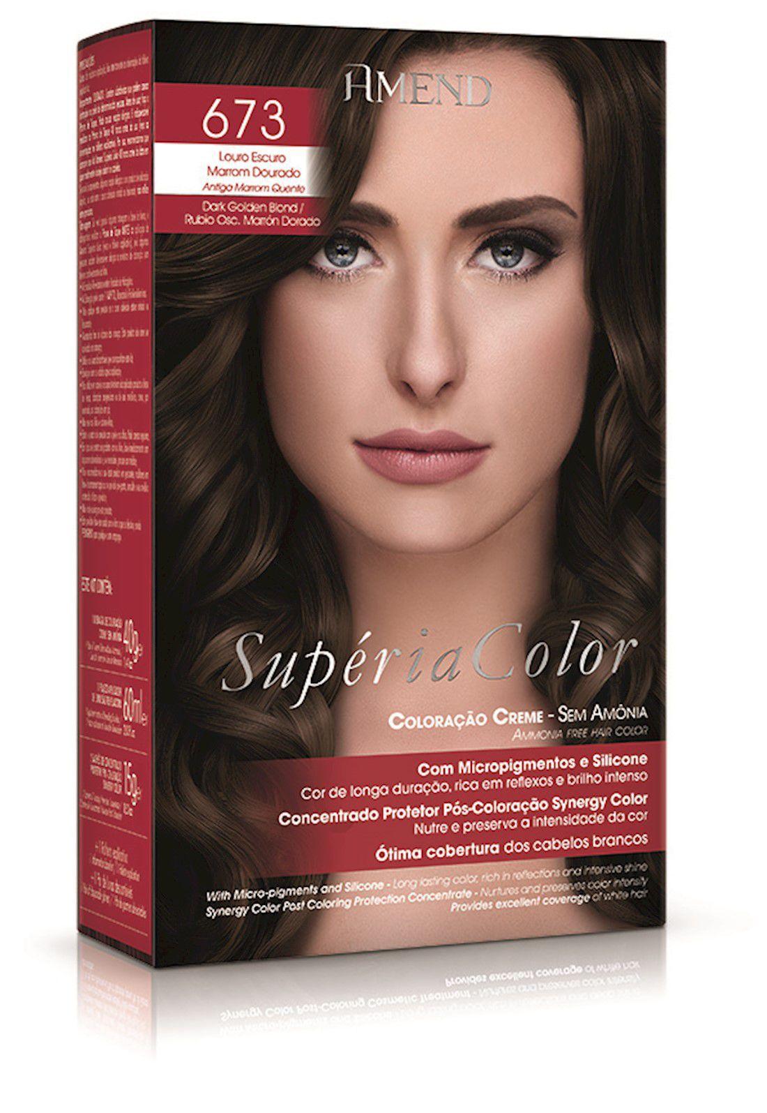 Tonalizante Supéria Color Kit 673 Louro Escuro Marrom Dourado 100g Amend