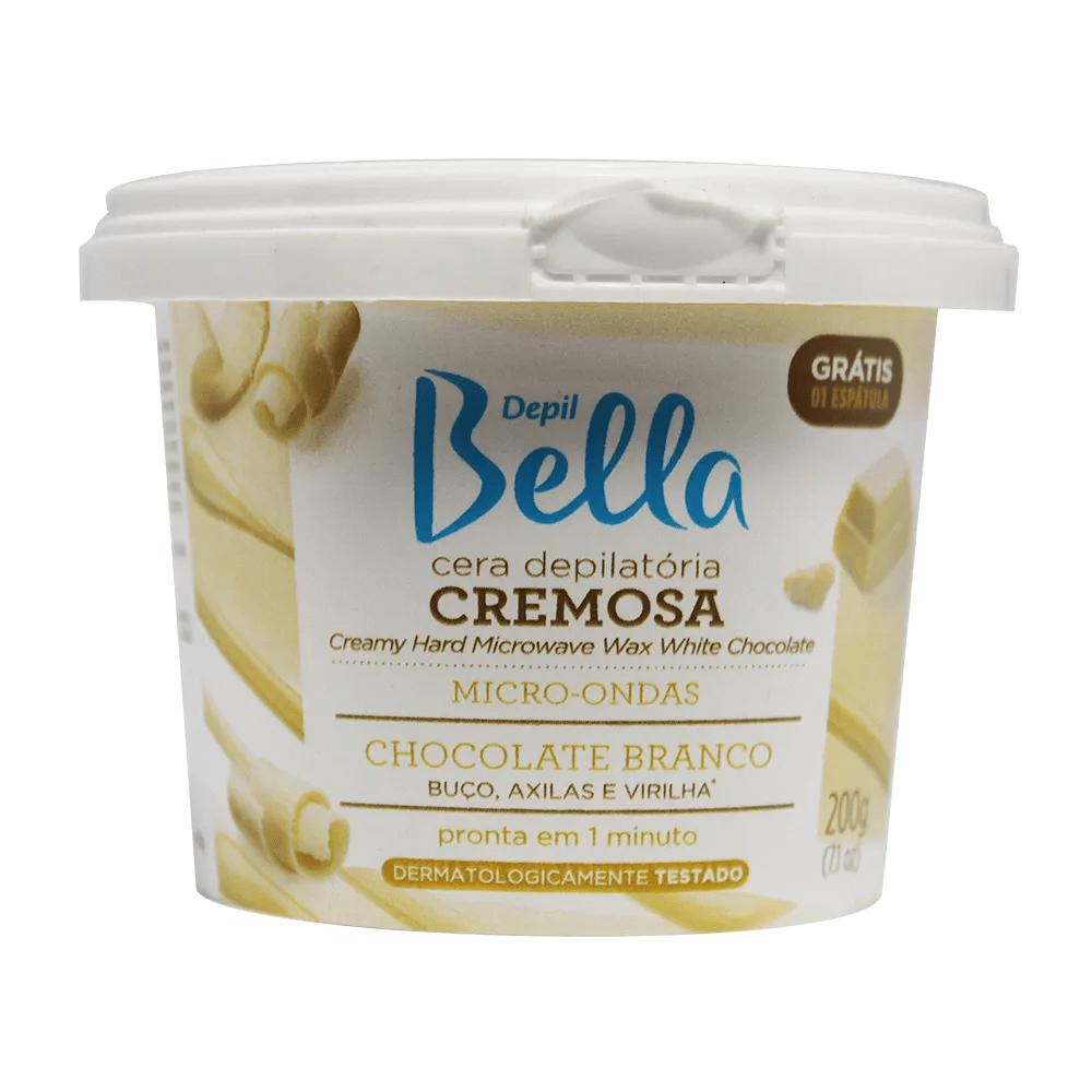 Cera Depilatória Cremosa para Micro-ondas Chocolate Branco Depil Bella 200g.