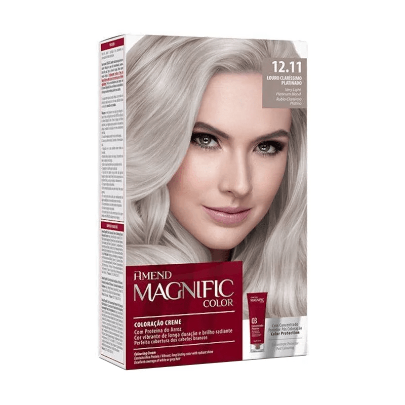 Coloração Creme Amend Kit 12.89 Louro Claríssimo Pérola Cendre Magnific Color