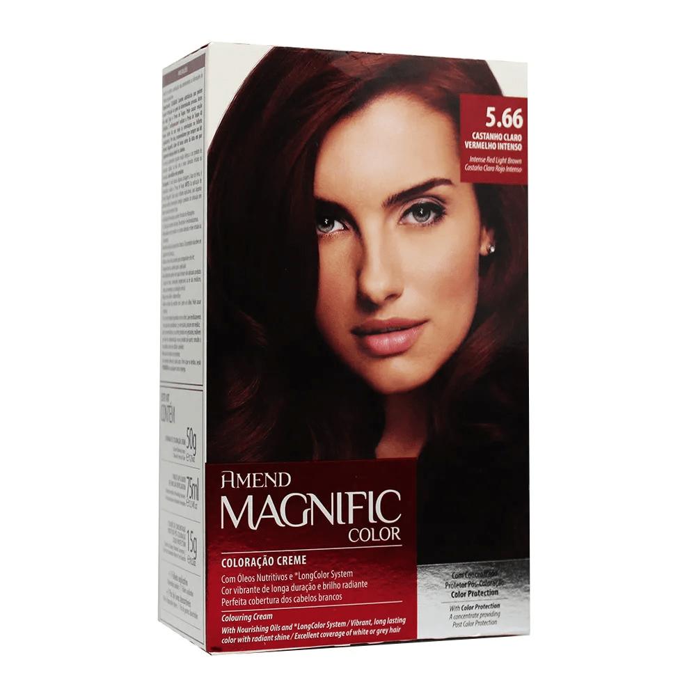 Coloração Creme Amend Kit 5.66 Castanho Claro Vermelho Intenso Magnific Color