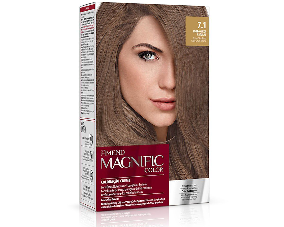 Coloração Creme Amend Kit 7.1 Louro Cinza Natural Magnific Color