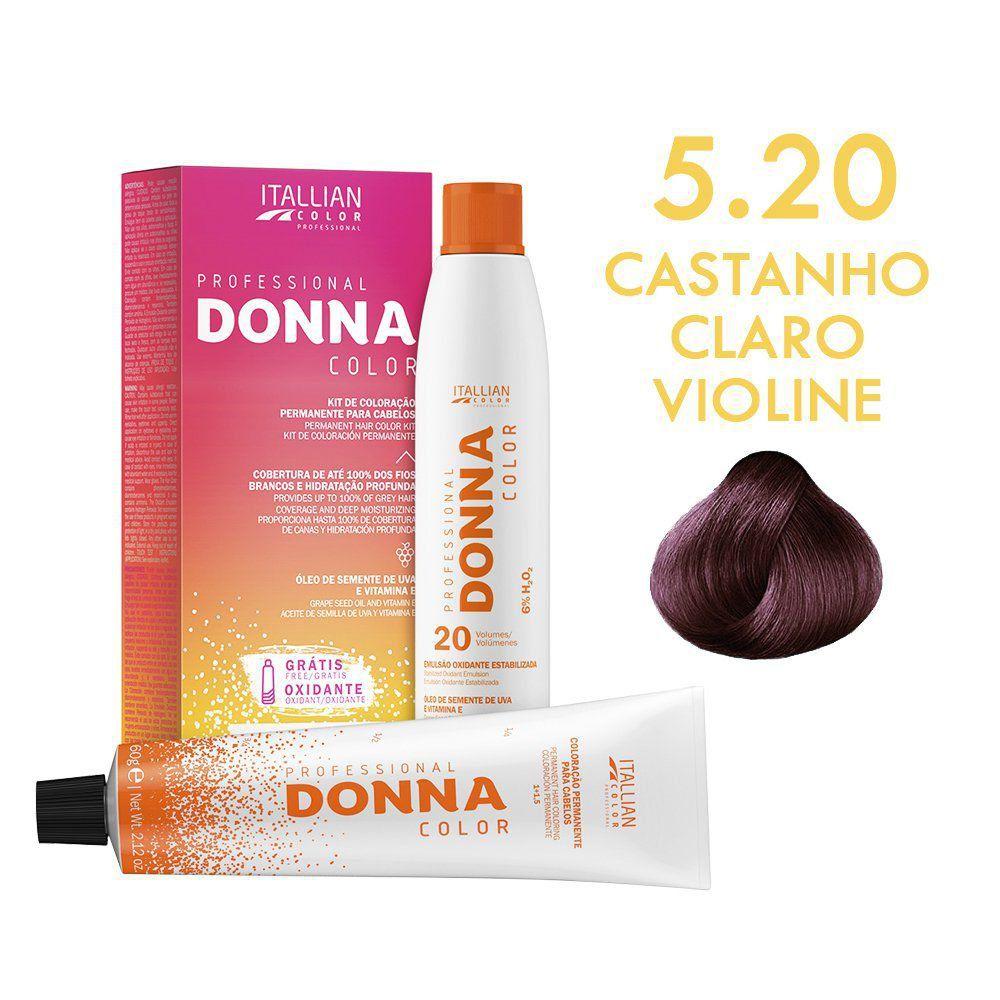 Coloração Donna Color Kit 5.20 Castanho Claro Violine 150g
