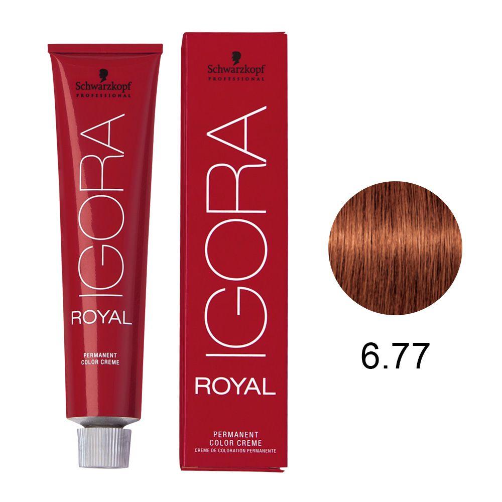 Coloração Igora Royal Cor 6.77 Louro Escuro Cobre 60g.