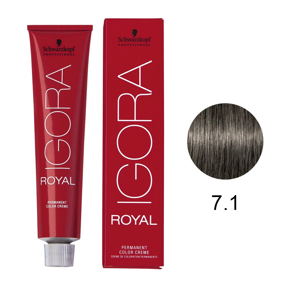 Coloração Igora Royal Cor 7.1 Louro Médio Cinza 60g