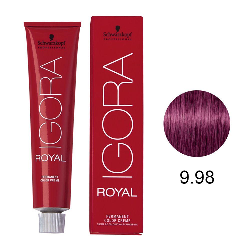 Coloração Igora Royal Cor 9.98 Louro Extra Claro Violeta Vermelho 60g.