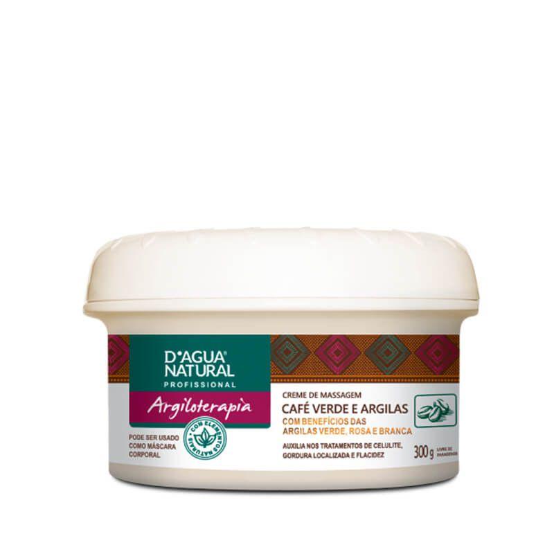 Creme De Massagem Argiloterapia D'Agua Natural Café Verde e Argilas 300g.