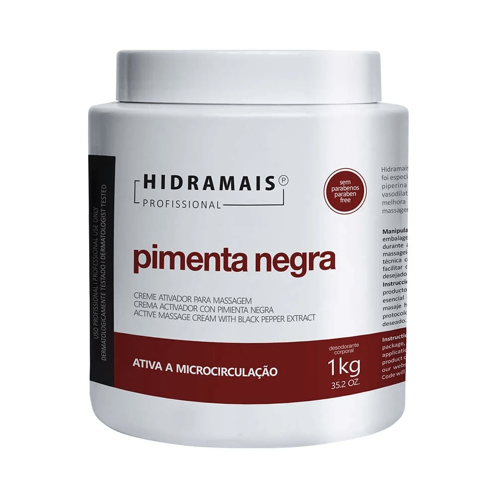 Creme Hidramais Massagem Pimenta Negra 1Kg.