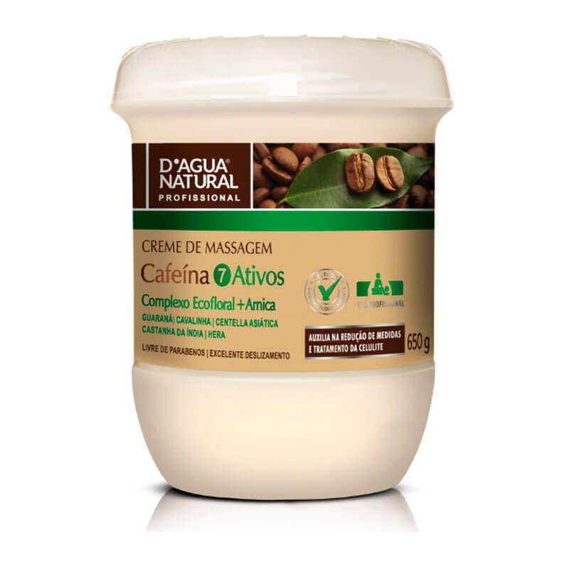 Creme De Massagem D'Agua Natural 7 Ativos Cafeína 650g.