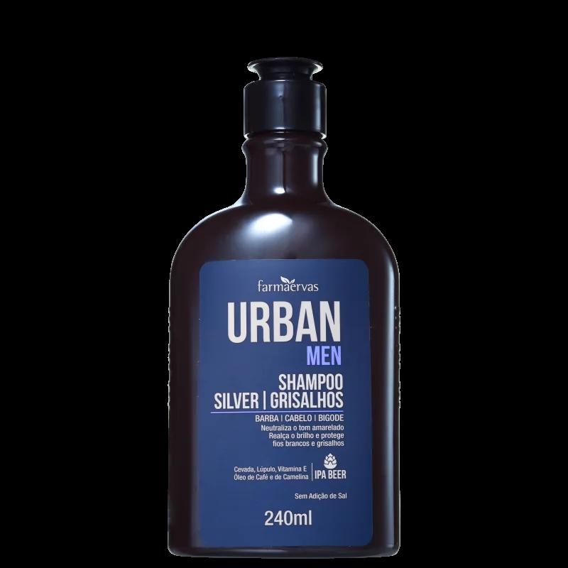 Farmaervas Urban Men Silver Grisalhos Shampoo Desamarelador 240ml.