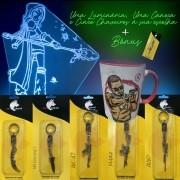 Caneca Gamer + Luminária Personalizada + 5 Chaveiros à sua escolha