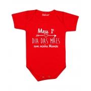Body de Bebê Meu Primeiro Dia das Mães Vermelho