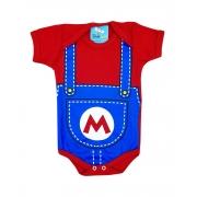 Body de Bebê Super Herói Mêsversário Mario Bross