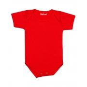 Body de Bebê Vermelho Liso Manga Curta