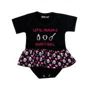 Body Saia Bebê Leite Fralda e Rock´n Roll