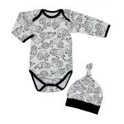 Conjunto Bebê 2 Peças Body e Touca Preguiça